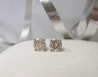 14K White Gold Diamond Stud Earrings, .84 ctw.