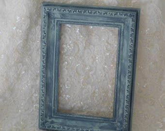 Frame, Vintage, Blue Gray, Chalk Paint, Distressed, Decor, Home and Family