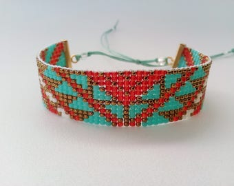 Turquoise, red and gold NEFERTITI bracelet