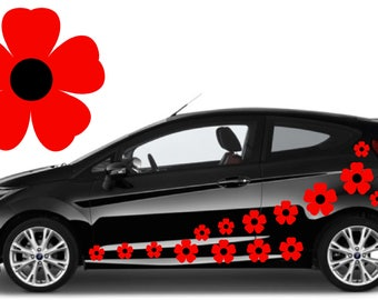 32, Red & black flower car decals,stickers in three sizes