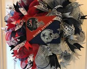 Texans & Dallas Football Wreath, House Divided Wreath, Sports Wreath