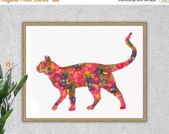 50% OFF SALE Cat Print, Cat Art, Cat Art Print, Pink, Blue, Cat Lover Gift, Floral Print, Floral, Home Decor, Cats, Cat, Cat Decor, Illustra