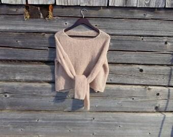 women's sweater, alpaca sweater, short sweater, kid moher sweater, knit sweater, Hand knit Sweater, oversize sweater, Womens knit pullover