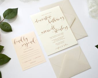 ivory wedding invitation wedding invitations neutral wedding invitation blush wedding light - Ivory Wedding Invitations