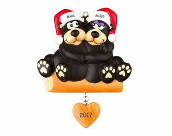 Personalized Huggable Black Bear Couples Christmas Ornament