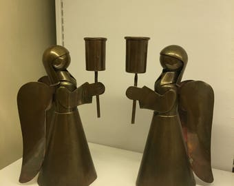 Vintage Pair of Brass Angel Candle Holders, Mid Century Modern Christmas Holiday Metal Figurines, Christmas Candle Holders