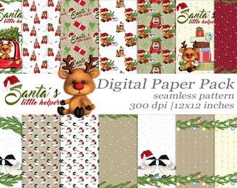Christmas Rudolph Digital Paper Pack Seamless Pattern Santa's Helper Craft Paper Winter Paper Scrapbook Designer Christmas Car Deer Paper