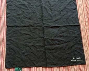 Ralph Lauren,Black Silk Hankie,Black Italy Hankie,Black Pocket Square,Black Pocket Scarf,Black Handkerchief,Black Suit Hankie,Black Hankie