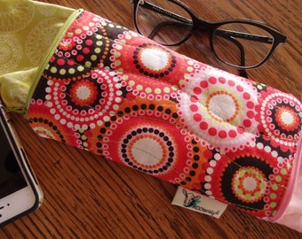Glasses Case/Mobile phone case/Pencil case- Quilted- Bright circles