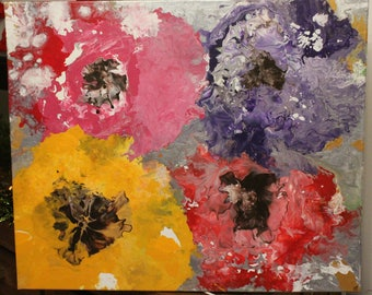 Abstract painting giant Cosmos poppy Iris flowers