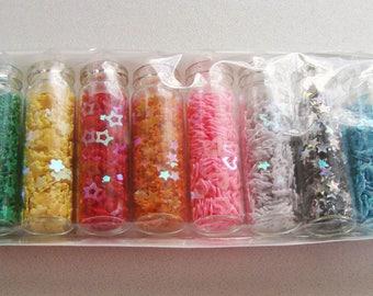 Lot 12 Fioles bouteilles PAILLETTES forme MIX mix couleurs