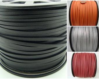 SUEDINE aspect croute cuir faux daim cordon plat par 2 mètres couleur au choix