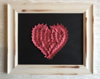 Red heart, framed butterfly  art