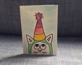 Hand Painted watercolor cat greeting cards