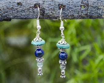 Earrings silver, turquoise and blue