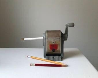 Vintage Dexter Pencil Sharpener . Antique Office Decor . Industrial Desk  Supplies . Metal Pencil Sharpener