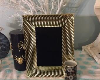 Gold design black scrying mirror