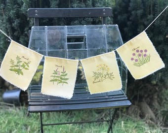 Handmade Machine Embroidered Fabric Rustic Farmhouse Garden Herb Bunting/ Banner/ Garland: Basil, Mint, Fennel, Chives 5ft. Line Length