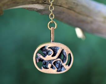 Vintage Modernist Esa Lukala, Finland. Bronze necklace / pendant with chain.