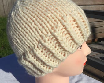 Hand Knit Chunky Hat Beanie / hat / toque in Cream READY TO SHIP Today!