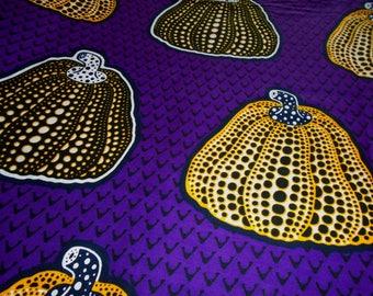 Julius Holland Wax Print Fabric by the Half Yard, Pumpkin Squash pattern