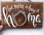 Love makes a house a Home wood sign crystal wall art