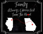 Last minute Mother's day gift Moving away state print. Select states & cities. Distressed chalkboard state PDF file digital print family.