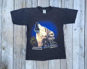 Minnesota Northwoods Wolf Wolves T Shirt Eagle Brand Medium