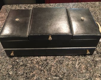 Black Leather Antique Strega jewelry box with red velvet lining  multi tier RARE OLD