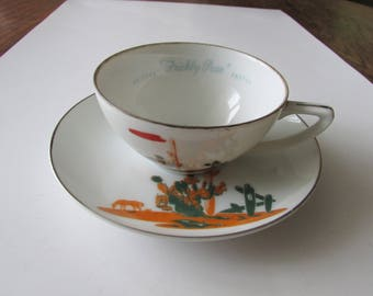 Vintage Blakely Prickly Pear Cactus Arizona Cup & Saucer China  Dinnerware