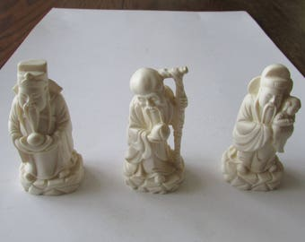 3 Vintage Carved Small Asian Figures