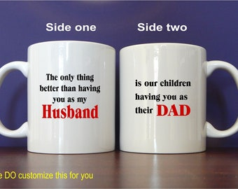Husband Dad Mug Gift for Fathers Day from Wife, Personalized Wife to Hubby Thank You Coffee Mug Gift, Useful Anniversary Gift for Him, MDA01