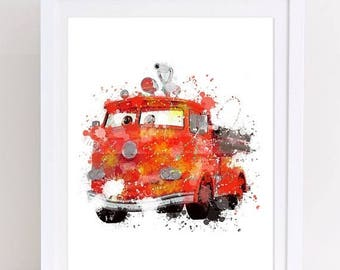 70%OFF disney cars print, red head fire poster, watercolor art, disney cars decor, disney watercolor, watercolor disney, disney poster, cars