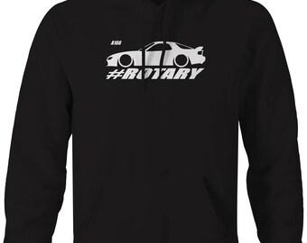 Mazda RX-7 Lowered Custom Rotary Engine Racing Hooded Sweatshirt- A166