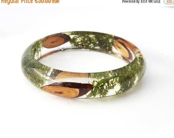 Sale Forest bangle Real moss bracelet Green bracelet Clear resin bangle  Flower bracelet Woodland jewelry Forest jewellery Gift for her Eco