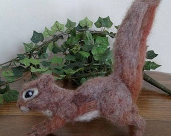 Felted squirrel, Felted animal, wool felted squirrel