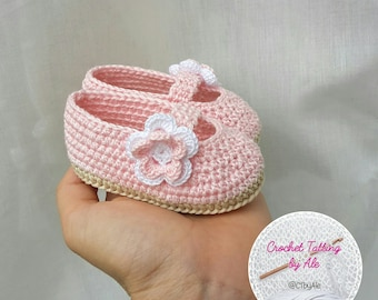 Pink crochet Ballet flats shoes and baby shoes, slippers, ecru 0-3 months