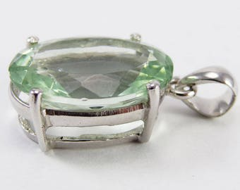 Green amethyst 14x20 gemstone silver pendant handmade jewellery