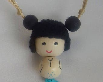 Necklace Kokeshi blue, adjustable in length without clasp