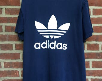 Vintage Adidas Trefoil double sided t shirt 80s 90s