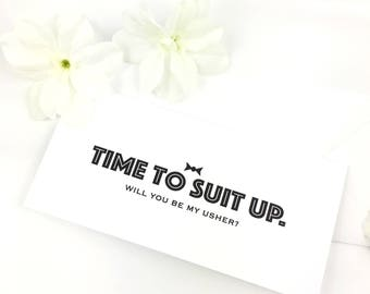 Personalised Time to suit up Will you be my Best Man / Usher/ Man of honour/ Bridesman/ Groomsman Wedding Card