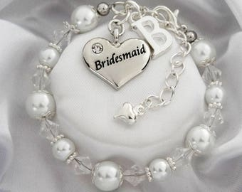 Bridesmaid White pearl Wedding Bracelet Bridesmaid bracelet Bracelet for Bridesmiad Bridesmaid gift Bridesmaid Jewelry Bridesmaid pearl