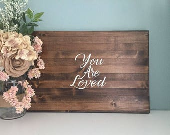 Rustic Wedding Guest Book Alternative / You Are Loved Design/ Painted Rustic Wedding Decor Wood Guest Book Sign In Country Wedding Guestbook