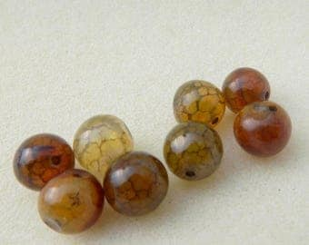 """set of 17 beads """"dragon vein"""" agate 10mm"""