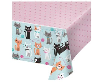 Tablecloth - Cat Party - Cat Birthday - Kitty Baby Shower - Meow Birthday - Kitten Birthday - Kitty Birthday Decoration - Cat Party Supplies