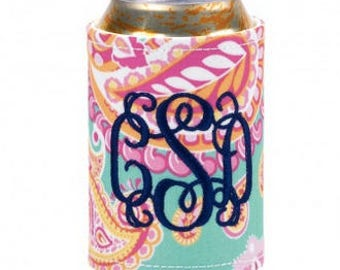 Summer paisley drink wrap ~ monogrammed drink wrap ~ personalized drink cooler ~bridesmaid, graduate, party gift
