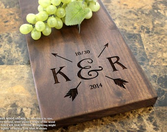 Wooden Serving Personalized Cheese Board, Engraved Cheese Plate - Mr and Mrs, Wedding Gift, Anniversary Gifts, Housewarming Gift. 018