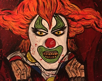 "Universal Orlando Halloween Horror Nights Jack the Clown Painting | One of a kind | 12"" x 12"" Hand Painted Canvas 