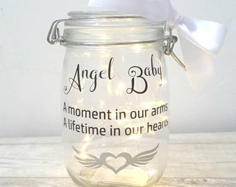 Memory jar, angel baby light jar, still birth, remembrance jar, memory, loss of baby, funeral light, grave light, memorial gift, light jar