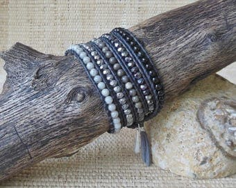 Leather Wrap Bracelet: Onyx/Pewter/Gray/Beaded Leather Wrap/5 Wrap Bracelet/Gemstone Bracelet/3rd & 7th Anniversary/Gift for Her/OOAK